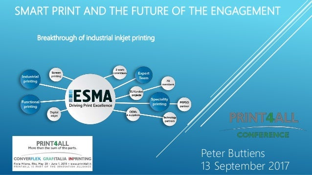 SMART PRINT AND THE FUTURE OF THE ENGAGEMENT Breakthrough of industrial inkjet printing Peter Buttiens 13 September 2017