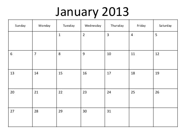 saturday to friday calendar template - printable blank pdf january 2013 calendar