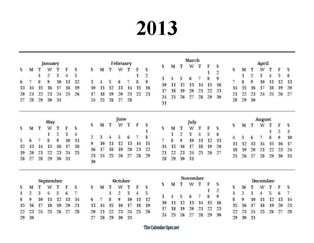 2013 One Page Yearly Pdf Calendar