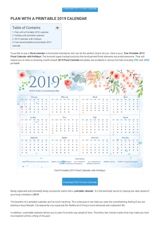 photograph relating to Printable Wiki named Printable Blank 2019 Calendar Templates
