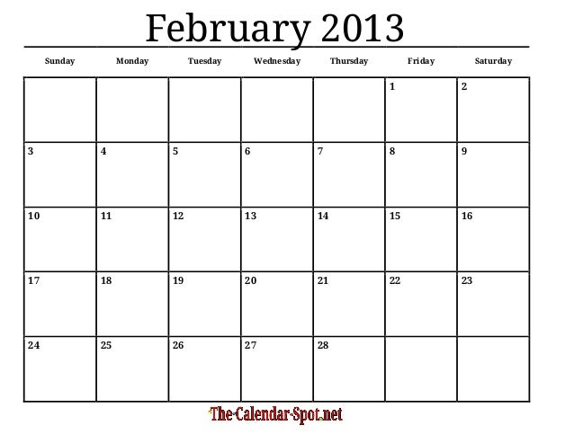 February 2013 Calendar   Templates for Word, Excel and PDF