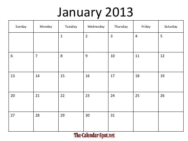 Printable Blank PDF January 2013 Calendar