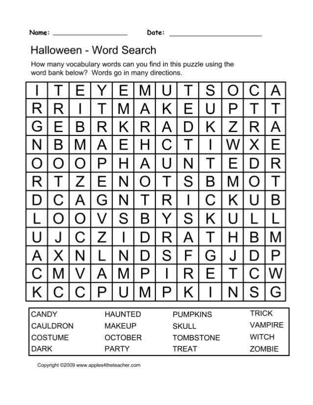 halloween word search puzzle spooky halloween worksheets – Halloween Worksheets Printables