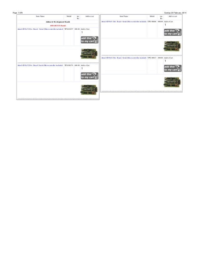 Page: 1/378  Sunday 23 February, 2014 Item Name  Model  inc. Rs.  Add to cart  Addon & Development Boards  Item Name  Mode...