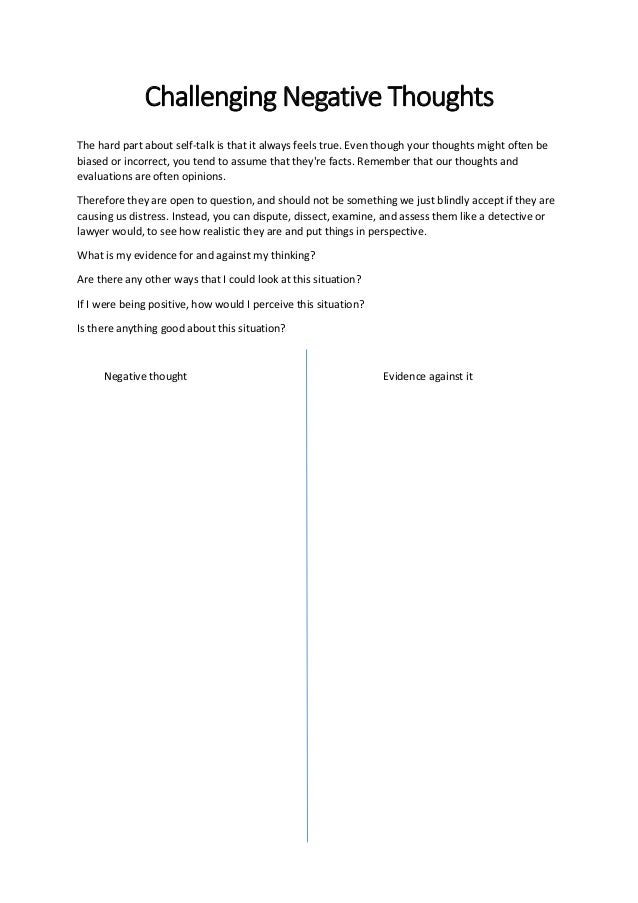 negative self talk worksheet Termolak – Negative Self Talk Worksheet