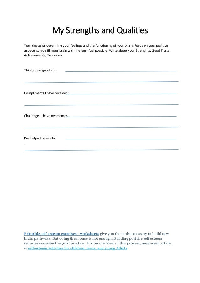 Printable self esteem worksheets for kids teens and adults – Self Esteem Worksheets