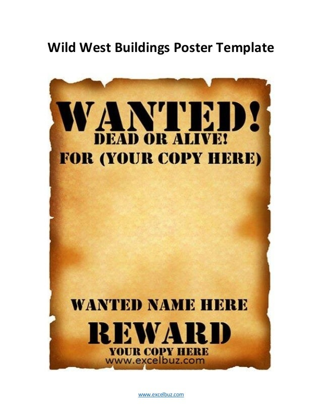 ... Wild West Buildings Poster Template ...  Printable Wanted Poster Template