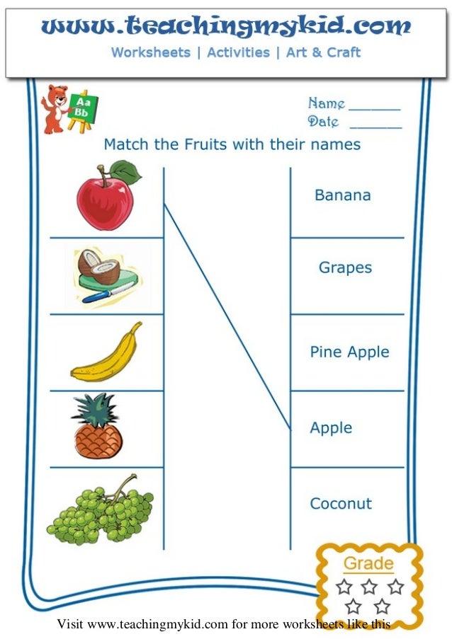 Printable Worksheet English Fruit - Teachingmykid.com