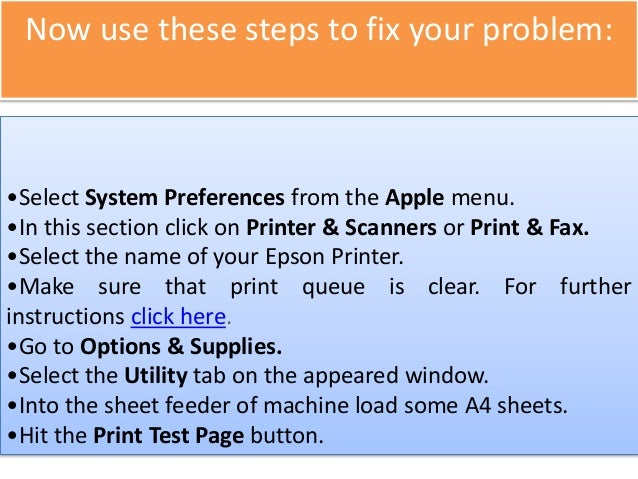 Print a Test Page in Mac OS X using Epson Printer