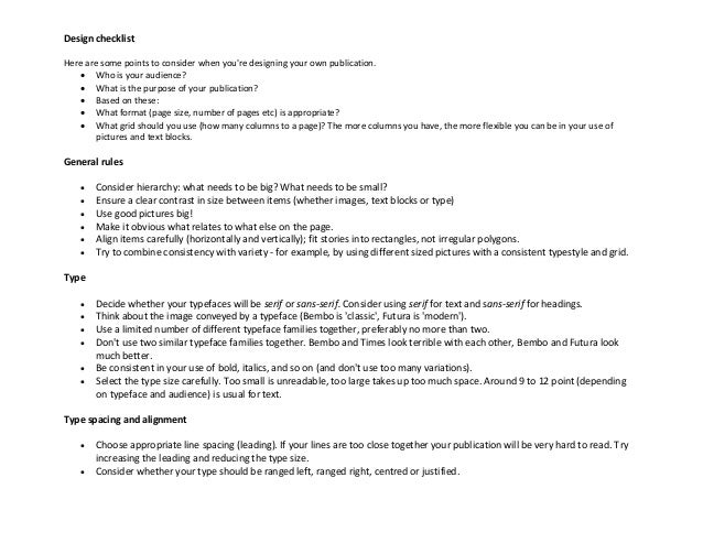 Print Design Checklist Landscape View