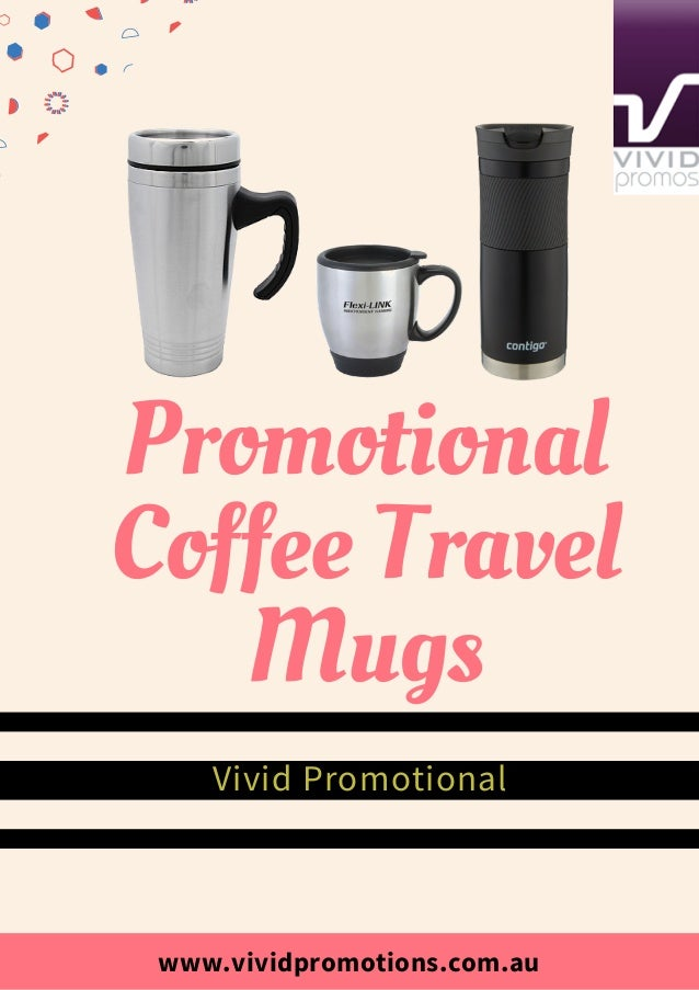 collection of printed coffee travel mugs at vivid promotions