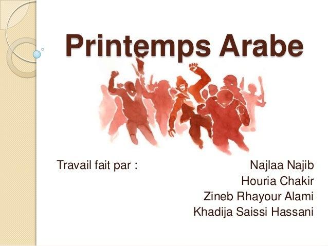 Printemps Arabe  Travail fait par :  Najlaa Najib Houria Chakir Zineb Rhayour Alami Khadija Saissi Hassani