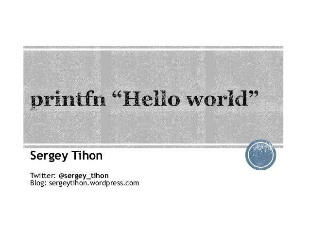 Sergey Tihon Twitter: @sergey_tihon Blog: sergeytihon.wordpress.com