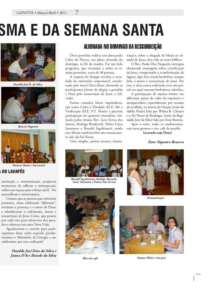 GAIVOTA • Março/Abril • 2011            7SMA E DA SEMANA SANTA                                                          AL...