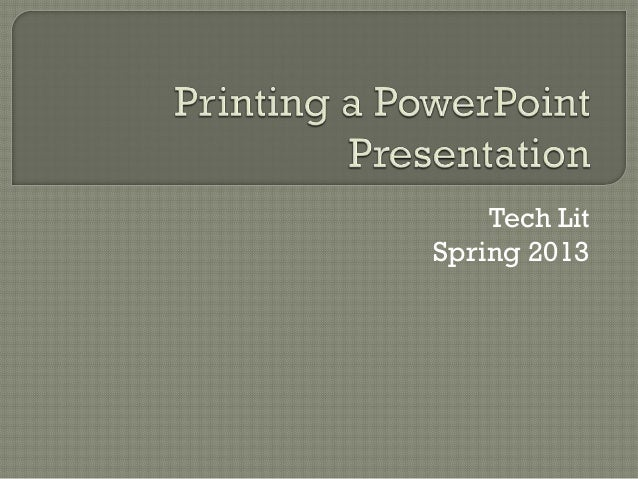 Tech LitSpring 2013