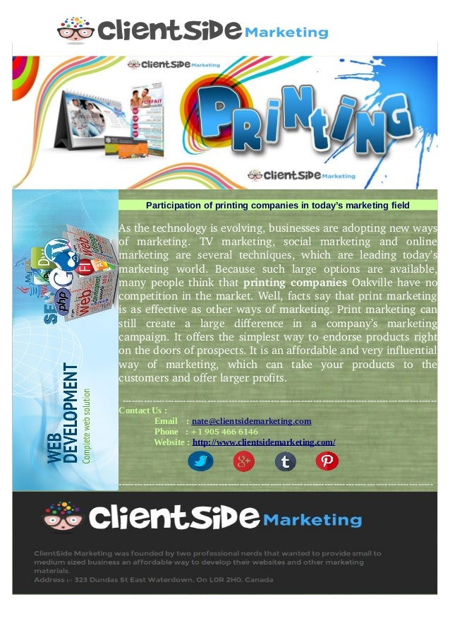 Participation of printing companies in today's marketing field Asthetechnologyisevolving,businessesareadoptingnew...