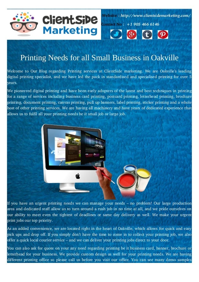 Printing needs for all small business in oakville printing needs for all small business in oakville website httpclientsidemarketing contact no colourmoves
