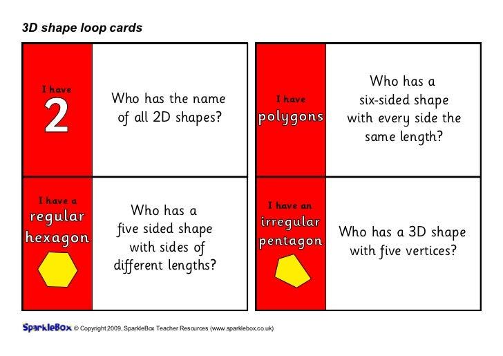 3D shape loop cards   I have                                                                                              ...