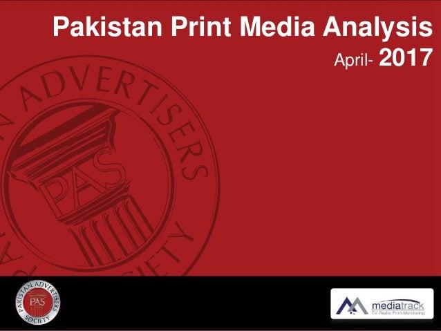 Pakistan Print Media Analysis April- 2017