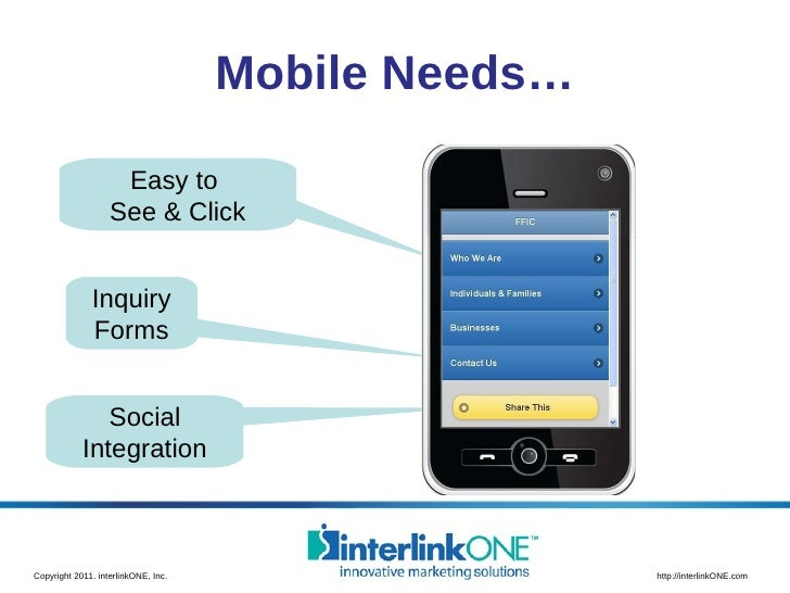 Mobile Needs… Inquiry Forms Social Integration Easy to  See & Click