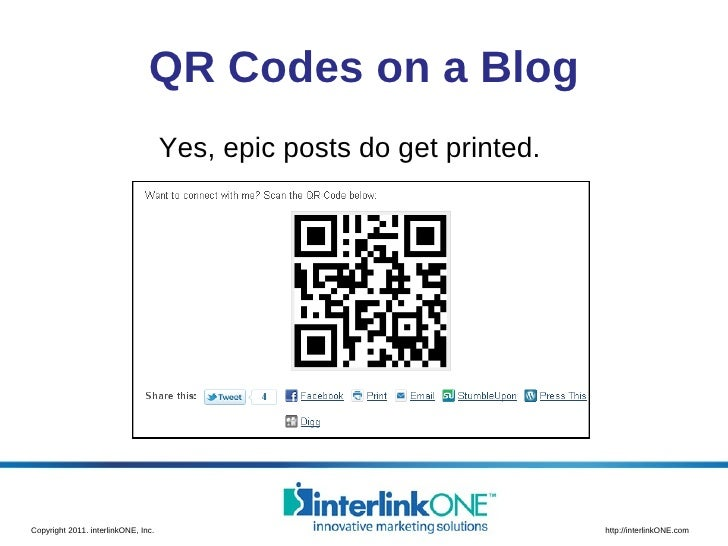 QR Codes on a Blog Yes, epic posts do get printed.