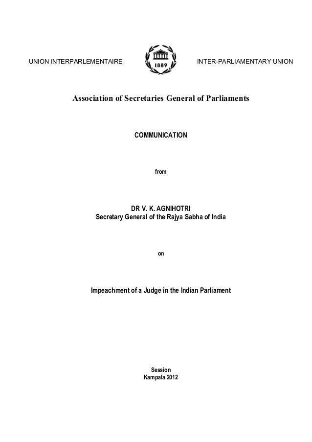 UNION INTERPARLEMENTAIRE  INTER-PARLIAMENTARY UNION  Association of Secretaries General of Parliaments  COMMUNICATION  fro...