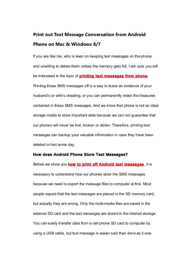 Print out text message conversation from android phone on mac