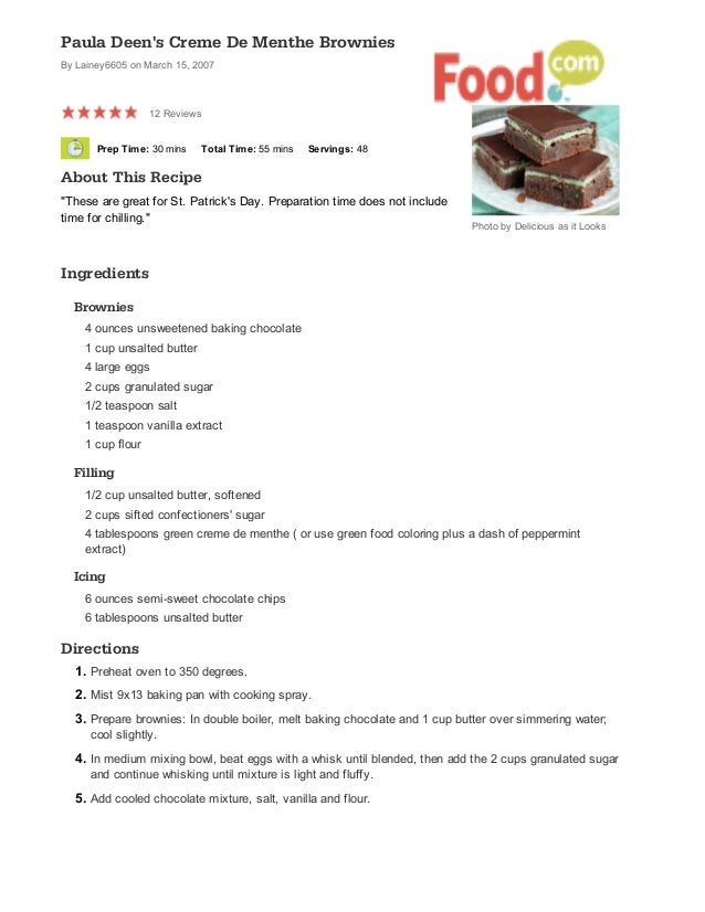 Paula Deens Creme De Menthe Brownies Recipe Food