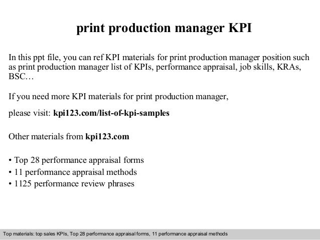 Print production manager kpi – Production Director Job Description