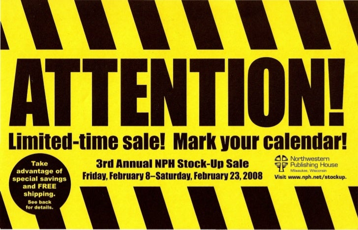 •limited-time sale! Mark vour calendar!                   ~ ~ Northwestern           3rd Annual NPH Stock-Up Sale         ...