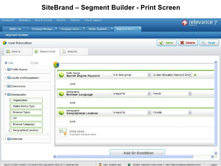 SiteBrand – Segment Builder - Print Screen