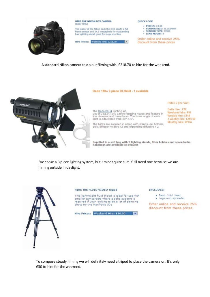 A standard Nikon camera to do our filming with. £218.70 to hire for the weekend. I've chose a 3 piece lighting system, but...