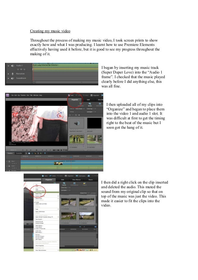 Creating my music videoThroughout the process of making my music video, I took screen prints to showexactly how and what I...