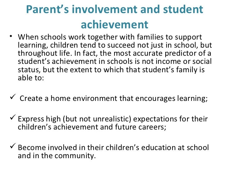 family involvement essay A number of laws to promote family involvement in education a brief summary follows17, 34, 35 in arizona, the legislature amended a bill in 1995 to.