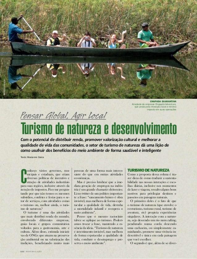 meio ambiente  122 | Aventura & Ação Turismo de natureza e desenvolvimento  Com o potencial de distribuir renda, promover ...
