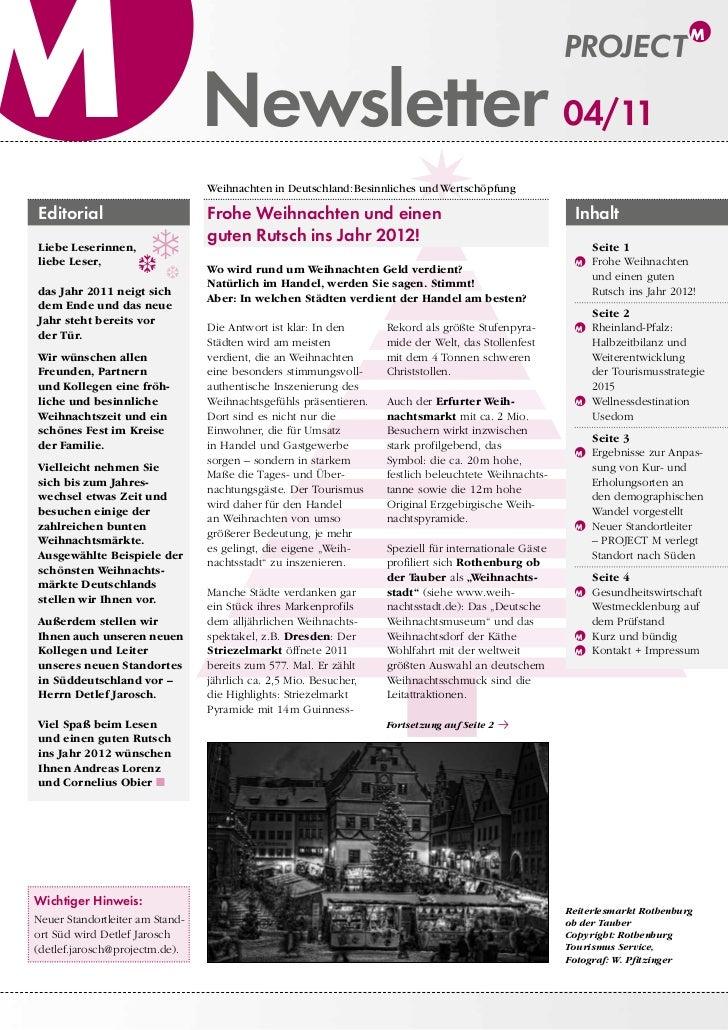 Newsletter 04/11Editorial                        Frohe Weihnachten und einen                                           We...