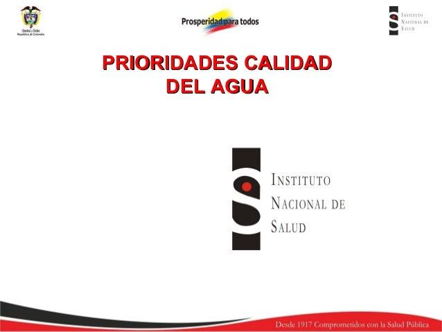 PRIORIDADES CALIDAD DEL AGUA