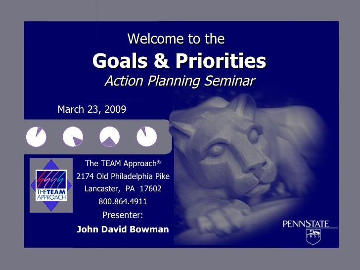 Welcome to the   Goals & Priorities Action Planning Seminar March 23, 2009