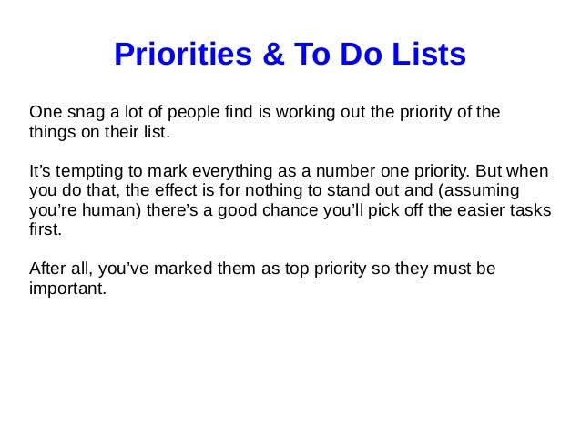 priority to do list
