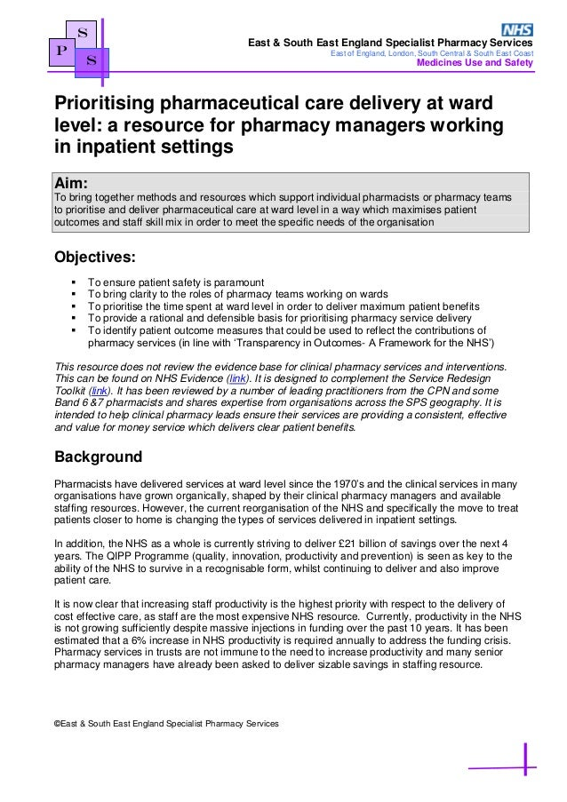 prioritising pharmaceutical care delivery at ward level