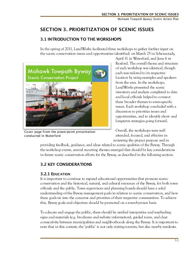 SECTION 3. PRIORITIZATION OF SCENIC ISSUES Mohawk Towpath Byway: Scenic Action Plan  SECTION 3. PRIORITIZATION OF SCENIC I...