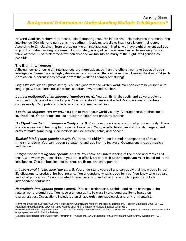 Activity Sheet:           Background Information: Understanding Multiple Intelligences*Howard Gardner, a Harvard professor...