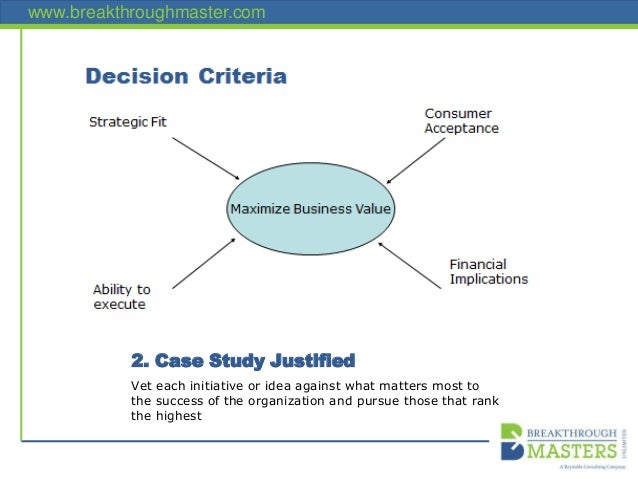 www.breakthroughmaster.com 2. Case Study Justified Vet each initiative or idea against what matters most to the success of...
