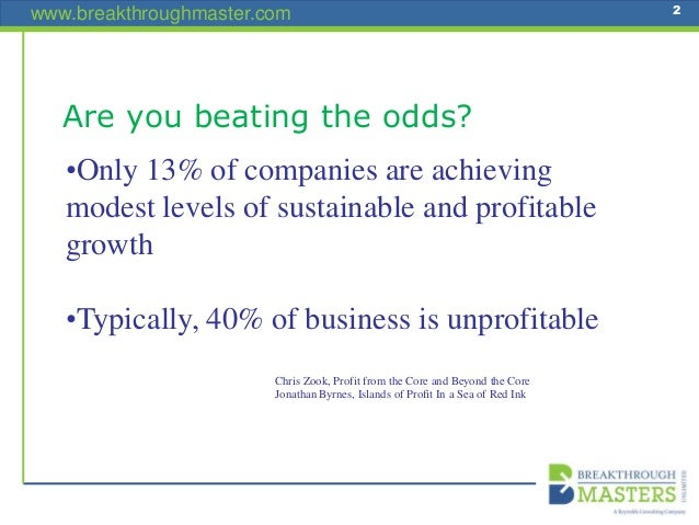 www.breakthroughmaster.com 2 •Only 13% of companies are achieving modest levels of sustainable and profitable growth •Typi...
