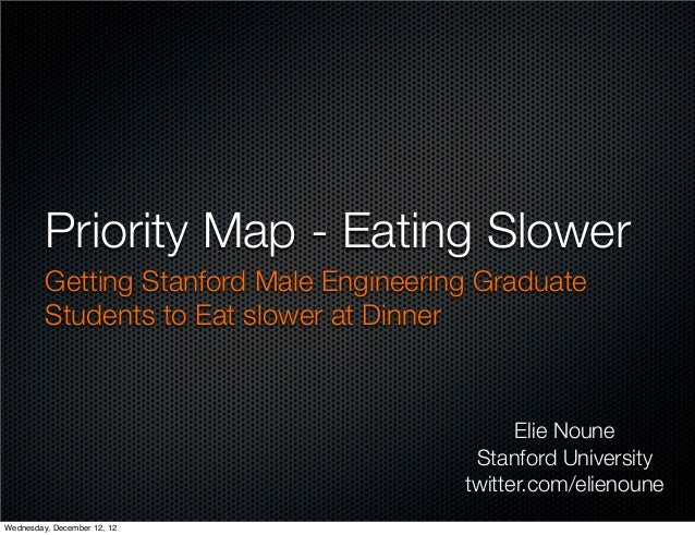 Priority Map - Eating Slower         Getting Stanford Male Engineering Graduate         Students to Eat slower at Dinner  ...