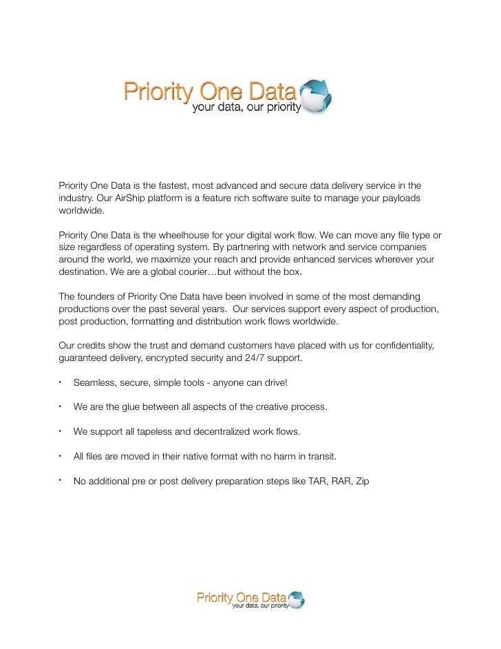 Priority One Data is the fastest, most advanced and secure data delivery service in the industry. Our AirShip platform is ...