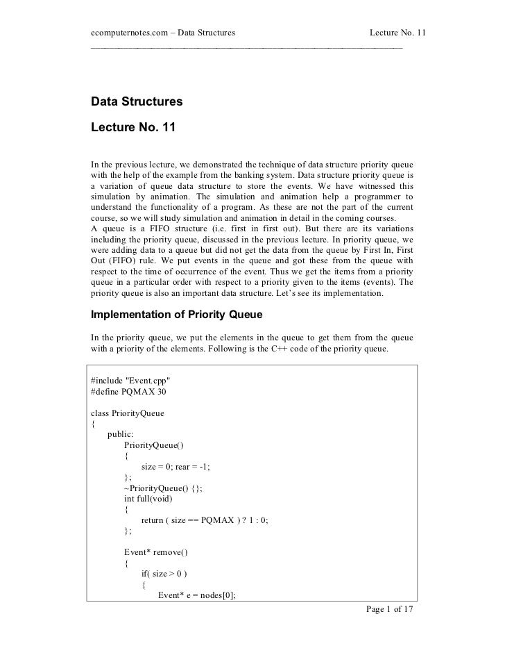 ecomputernotes.com Data Structures                          Lecture No. 11________________________________________________...