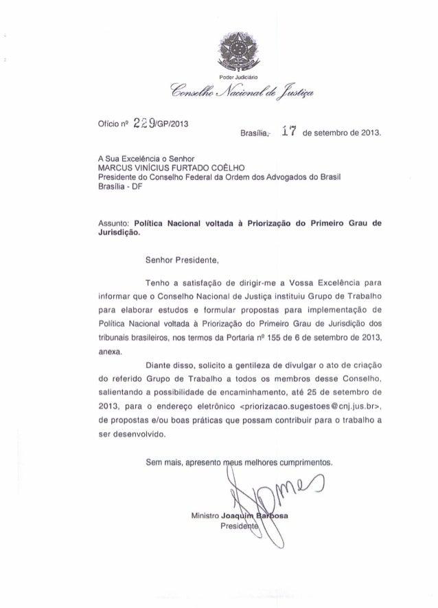 """Oficio n9 229/GP/2013 , """"Brasília,' i í de setembro de 2013. A Sua Excelência o Senhor MARCUS VINÍCIUS FURTADO COÊLHO Pres..."""