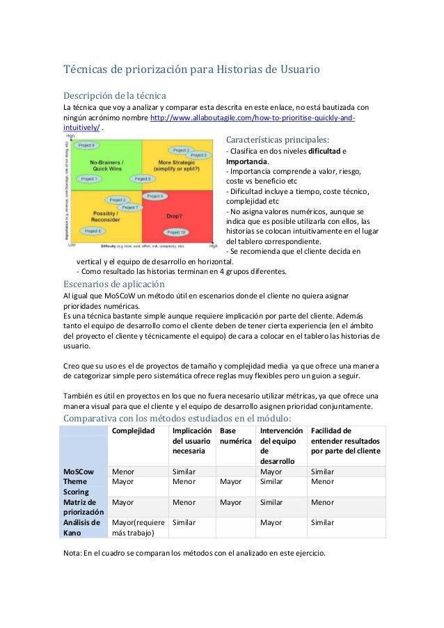 Técnicas de priorización para Historias de Usuario Descripción de la técnica La técnica que voy a analizar y comparar esta...