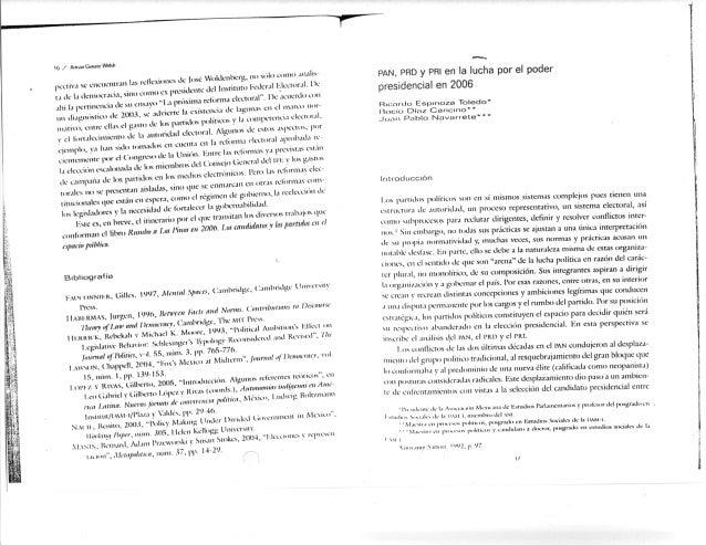 PRI, PAN, PRD en 2006. Rumbo a los pinos. Navarrete. 2009